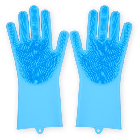 - Dish Washer Gloves, Magic Saksak Silicone Cleaning Gloves, Reusable Silicone Heat Resistant Gloves for Dust Wiping, Scrubbing Kitchenware, Toilet, Bathtub, Floors and Pet Hairs