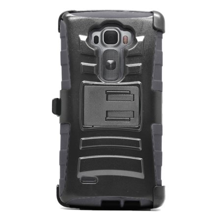 Insten Hard Dual Layer Plastic Silicone Stand Case with Holster For LG G Flex 2 - Black - image 2 de 3