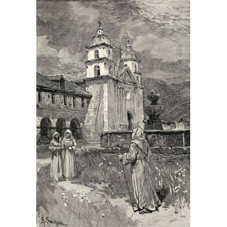 - Fountain And Mission Santa Barbara California Engraving From The Book The Century Illustrated Monthly Magazine May To October 1883 Canvas Art - Ken Welsh  Design Pics (22 x 34)
