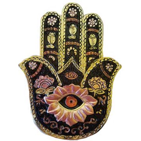 Incense Burner Hamsa Hand of Peace in Black and Gold Ward Off Evil Negativity Made for Burning Sticks Meditation Relaxation Tool 5