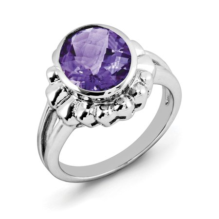 Primal Silver Sterling Silver Rhodium Checker-Cut Amethyst Ring