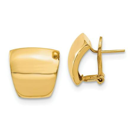 14k Yellow Gold Unique Omega Back Earrings - 15mm x 16mm thumbnail