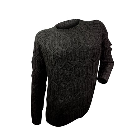 Zen Womens Black Diamond Cable Knit Sweater Walmart