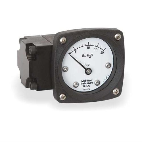 MIDWEST INSTRUMENT 142-AA-00-OO-20H Pressure Gauge, 0 to 20 In H2O