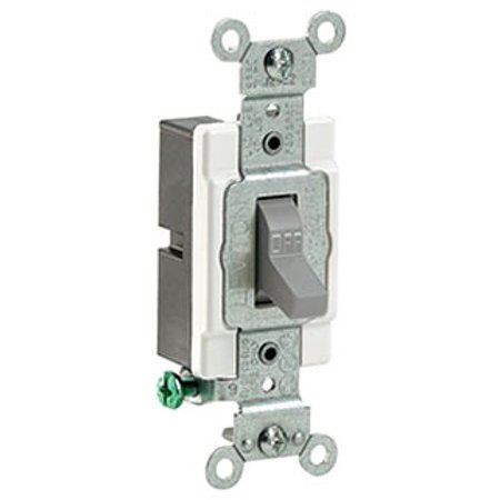 Leviton CS120-2GY 20-Amp, 120/277-Volt, Toggle Single-Pole AC Quiet Switch, Commercial Grade, Grounding, Gray