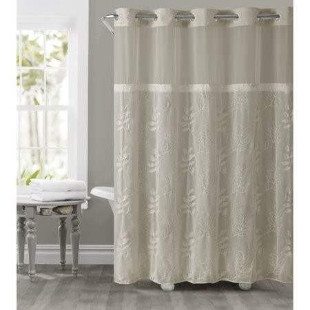 Palm Desert Shower Curtain - Hookless Tan Palm Leaves Polyester Shower Curtain