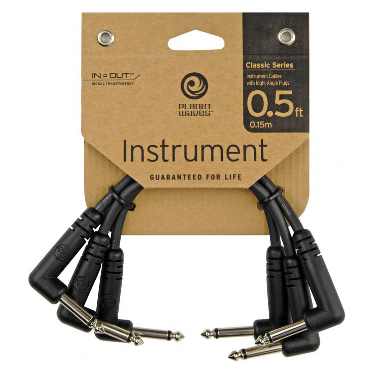 Planet Waves Classic Series Right Angle 6 Inch Patch Cable (3 Pack)