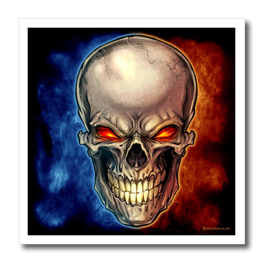 3dRose Skull surrounded by blue and red smoke - Quilt Square, 6 by 6-inch