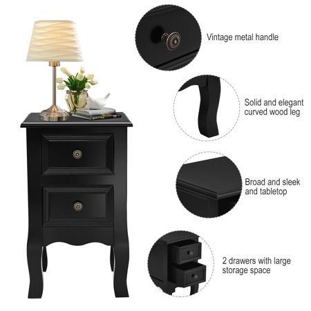 Costway Black Night Stand w/ 2 Storage Drawers Wood End Accent Table - image 7 de 10