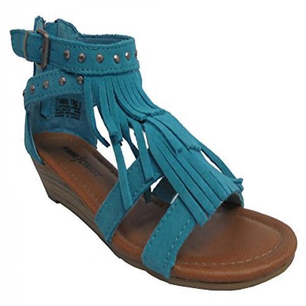 Minnetonka Womens Ashley Suede Fringe Wedge Shoes 7 Turquoise by MINNETONKA