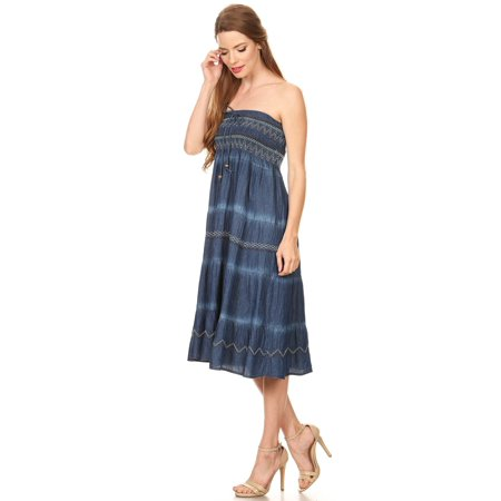 Fit and Flare Tiered Layers Denim Skirt or Midi Dress Smocked Strapless Top