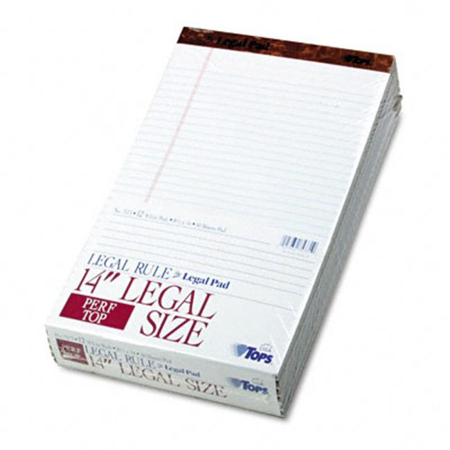 Tops 7573 Perforated Pads  Legal Rule  Lgl  White  12 50-Sheet Pads per Pack