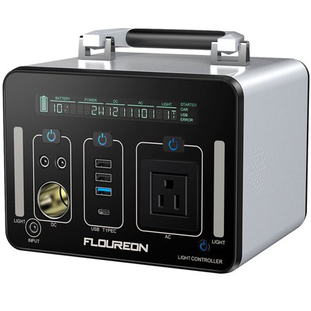 FLOUREON Portable Solar Generator, 500Wh Power Station Generator for home use with 250W AC Outlet, 12V Car, 60W Type-C/USB PD Quick Charge Lithium Power Supply for camping Road Trip Emergency