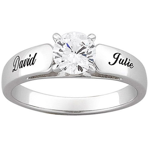 Personalized Sterling-Silver with Round Cubic Zirconia Engagement Ring