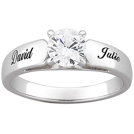 Personalized Sterling Silver With Round Cubic Zirconia Engagement Ring
