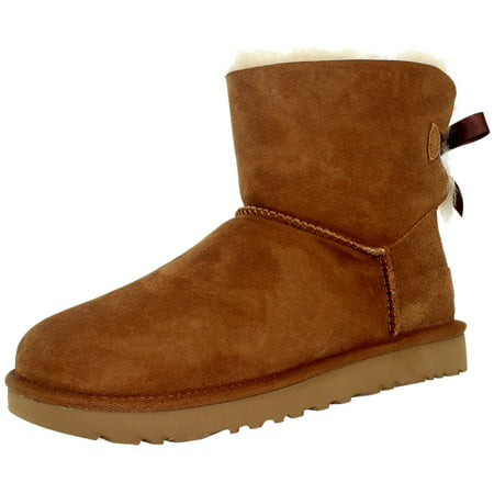 Ugg Women's Mini Bailey Bow Chestnut Ankle-High Suede Boot - 9M