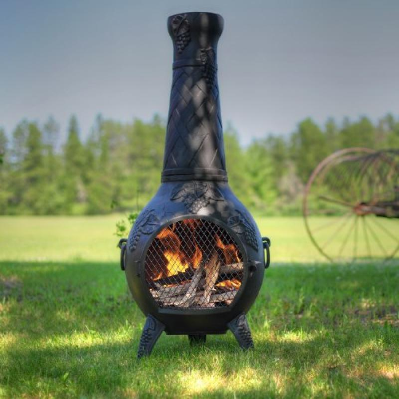 Blue Rooster ALCH001GK-CH Grape Leaf Cast Aluminum Chiminea w Gas Kit Charcoal Large by