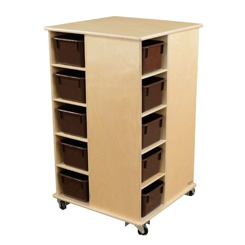 Wood Designs Spinner Double Sided 20 Compartment Cubby with Trays