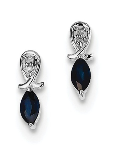 Sterling Silver Rhodium Plated Diamond Sapphire Marquise Post Earrings 0.31ct (10MM Long x 4MM Wide)