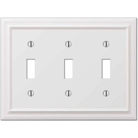 Continental White Cast Triple Toggle Wallplate