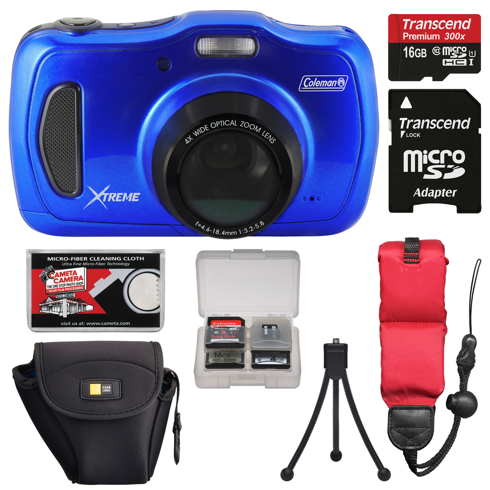 Coleman Xtreme4 C30WPZ Waterproof HD Digital Camera (Blue) with 16GB Card   Case   Tripod   Floating Strap   Kit