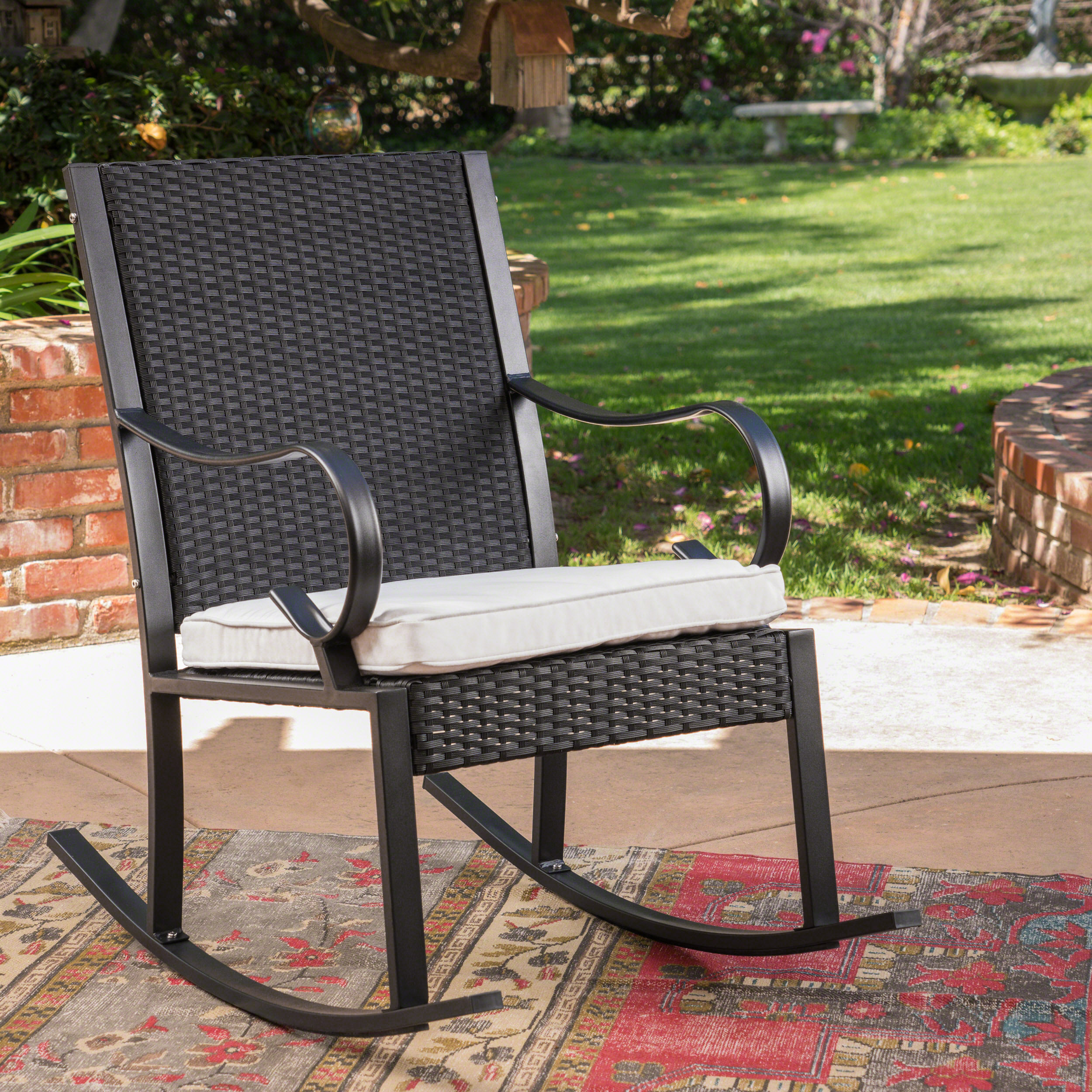 Hayden Outdoor Wicker Rocking Chair with Cushion, White,Black