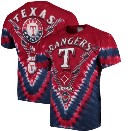 Texas Rangers V Tie-Dye T-Shirt - Red/Navy - Ranger De Texas