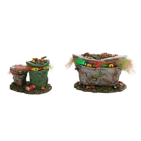 Dept 56 Halloween Village 4024036 Spooky Trash Cans Set of 2 Retired