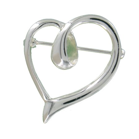 Silver Tone Loop Heart Pin Brooch Antique Silver Tone Brooch