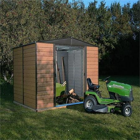 10 x 8 ft. Arrow Woodridge Electro Galvanized Steel Storage Shed, Coffee & (Steel Storage Building Metal)