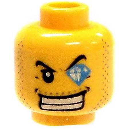 LEGO Stubble, Smile & Diamond Left Eye Loose Head [Yellow]