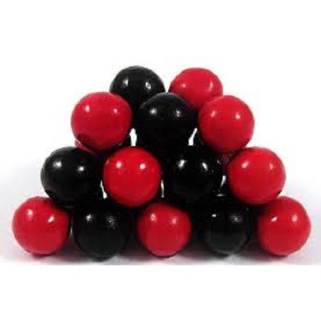 BAYSIDE CANDY SIXLETS BLACK AND RED, 1LB - Wedding Sixlets