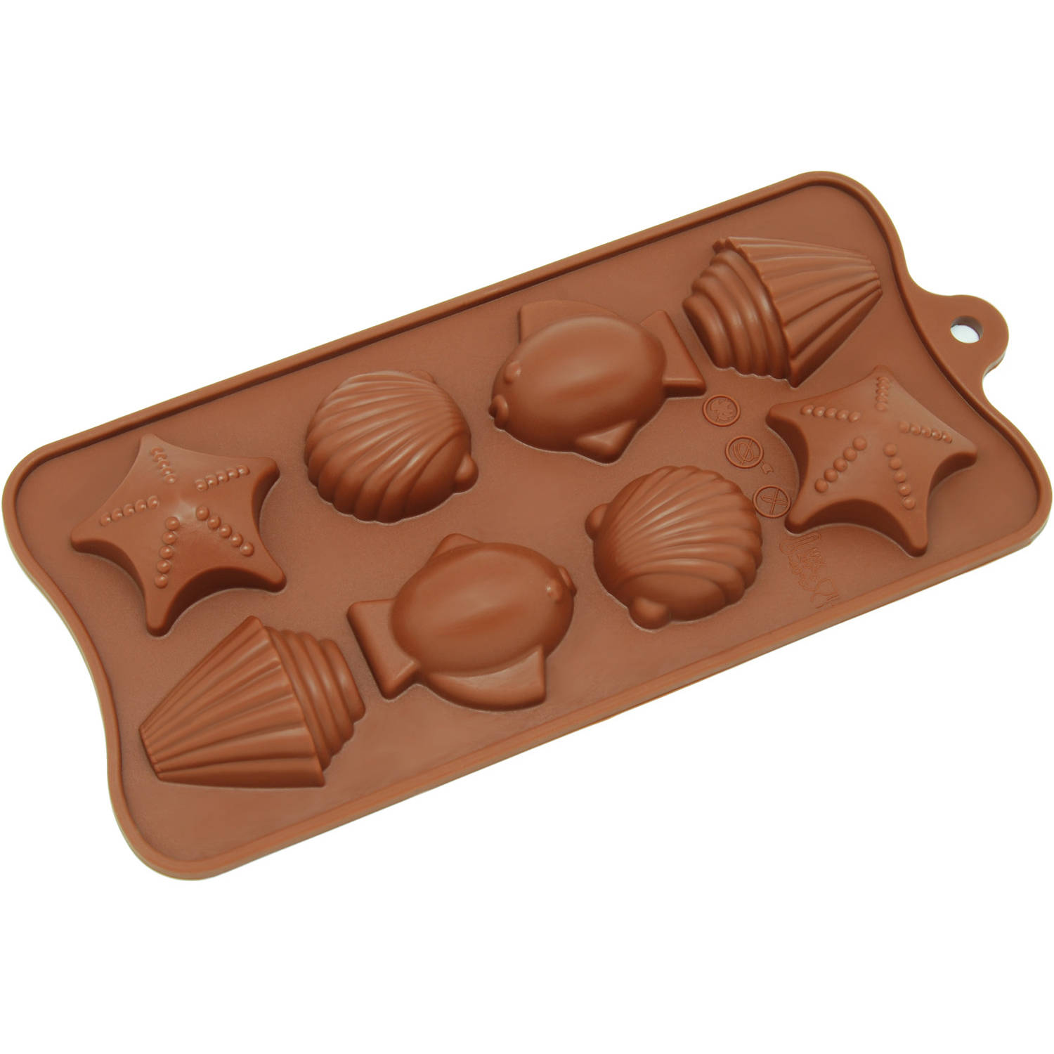Freshware 8-Cavity Seashell, Fish and Seastar Silicone Mold for Chocolate, Candy and Gummy, CB-603BR