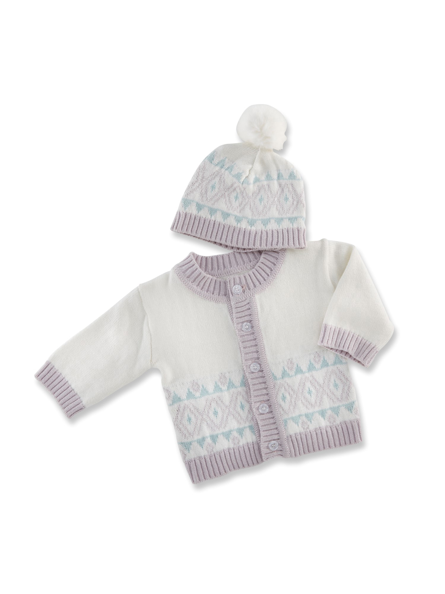 Baby Aspen Fair Isle Cardigan & Pom Pom Hat, 2pc Set (Baby Girls) 0-6mo.