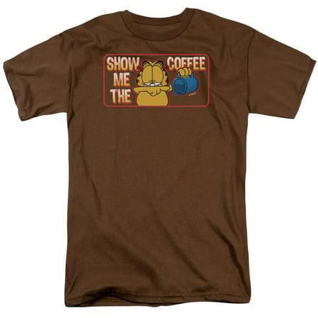 Garfield Show Me The Coffee Newspaper Comic Short Sleeve Adult T-Shirt Tee