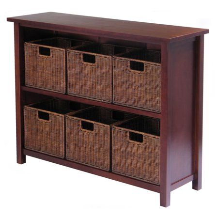 Carton Flow Shelving - Milan 7pc Storage Shelf with Baskets; One Cabinet and 6  small Baskets; 3 cartons