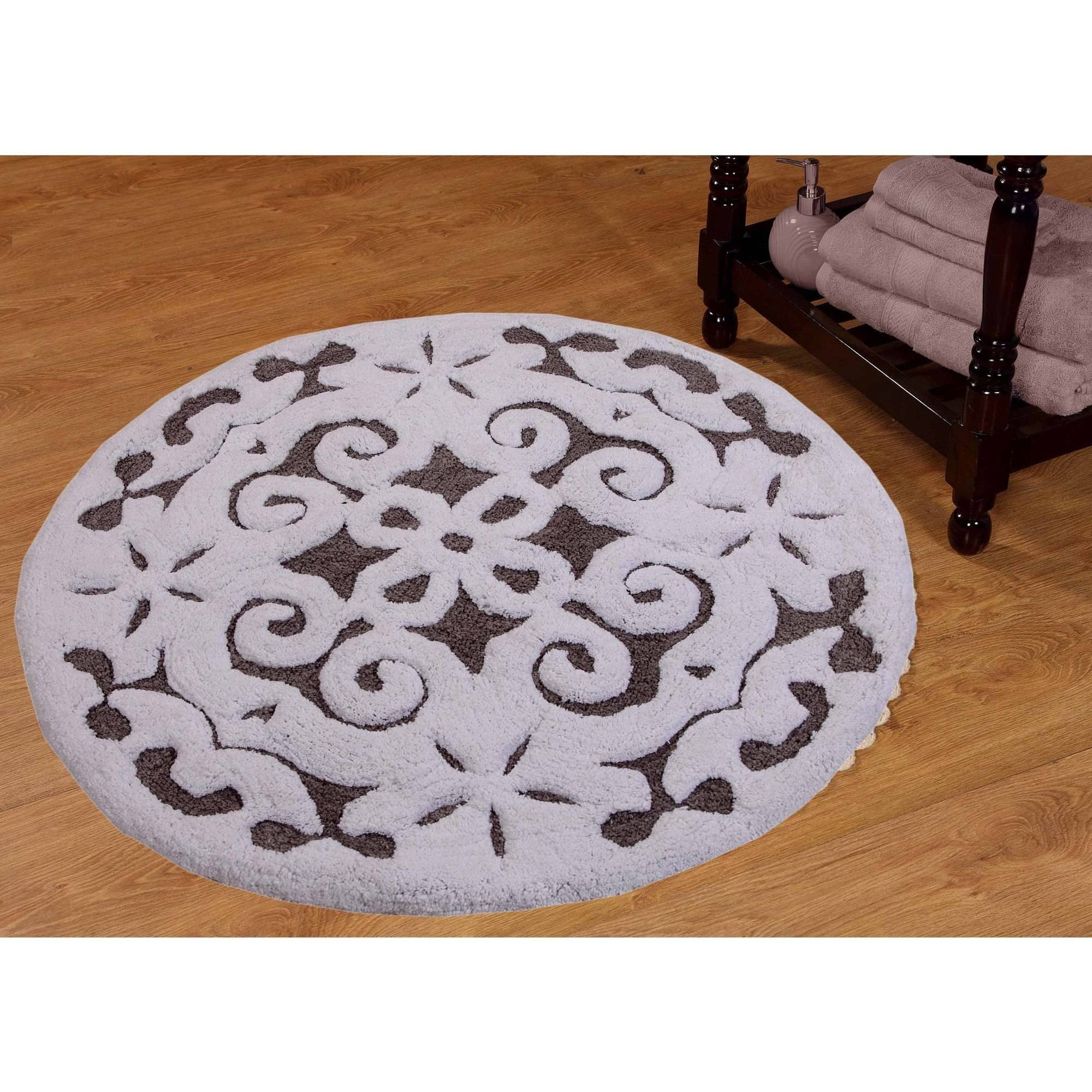 "Saffron Fabs Bath Rug, 36"" Round, Damask Pattern, Assorted Colors"