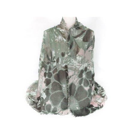 - Petal Print Scarf Shawl Wrap with Fringed Edge for Women by Zodaca Lightweight Cozy Ladies Fashion  - Green
