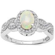 Malaika Sterling Silver 4/5ct TGW Ethiopian Opal and White Topaz Ring Size 6