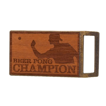 Buckle Rage Beer Pong Champion Real Wood Rectangle Belt Buckle, BRONZE, W1003-139-BNZ