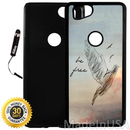 Custom Google Pixel 2 Case (Be Free Bird Retro Vintage) Plastic Black Cover Ultra Slim | Lightweight | Includes Stylus Pen by Innosub