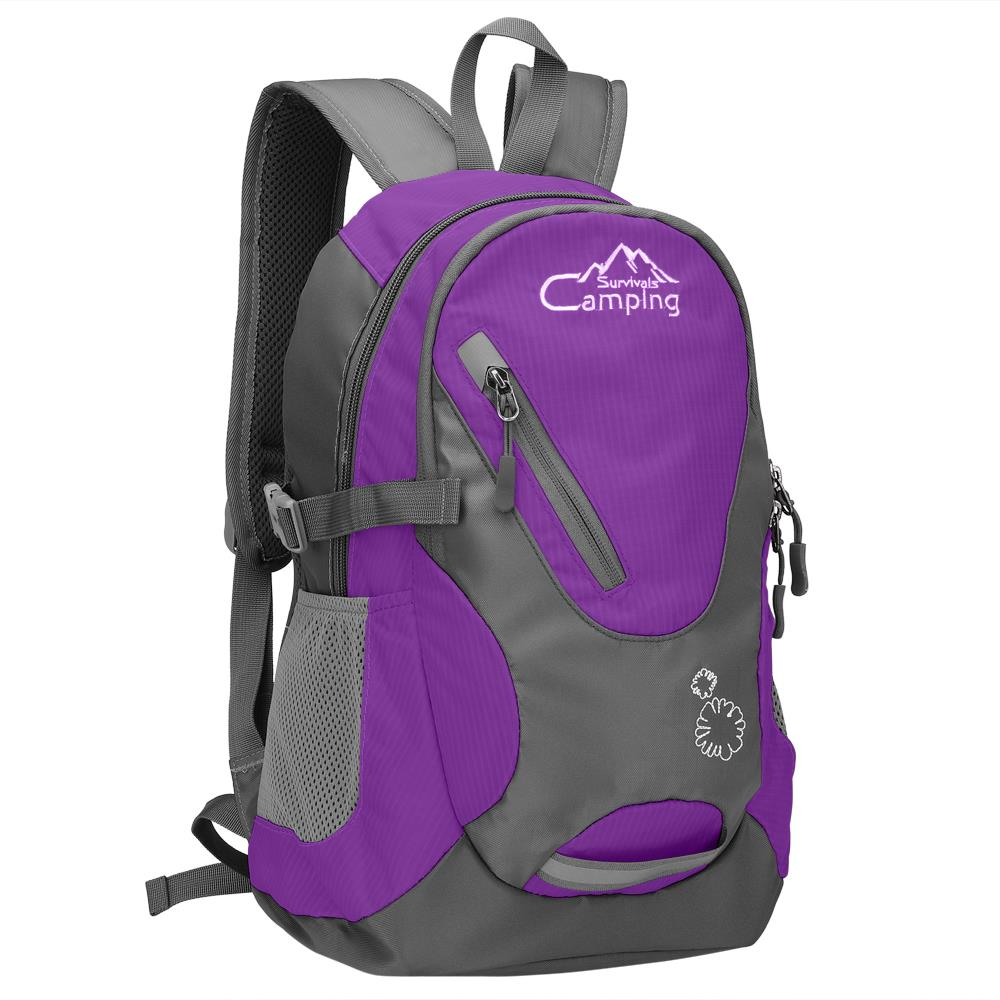 "Camping Survivals 16"" Kids Children Small Backpack, 20L Waterproof Travel Camping Rucksack School Book Bag for Girls Boys Outdoor Sports,Purple"