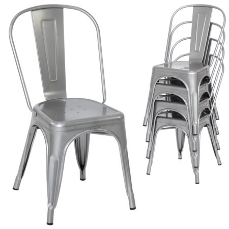 Best Choice Products Set of 4 Stacking Modern Industrial Metal Dining Chairs (Silver)