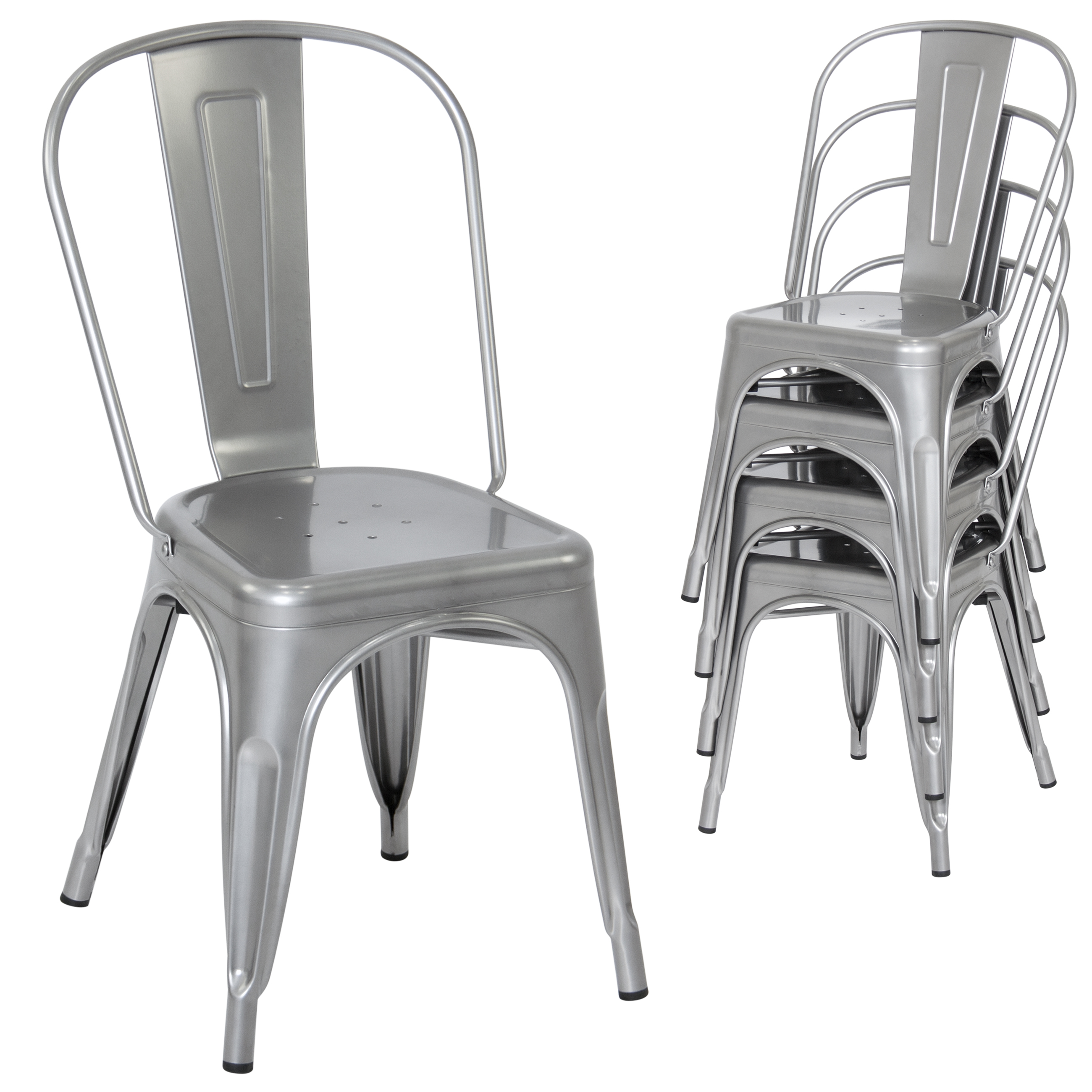 Belleze Set 4 Metal Chairs Side Dining Steel High Back Counter