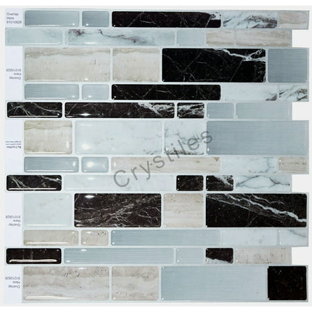 "Crystiles® Peel and Stick Self-Adhesive Stick-On Vinyl Wall Tile Backsplash,Multi-Color Marble, Item# 91010828, 10"" X 10"" Each, 6 Sheets"