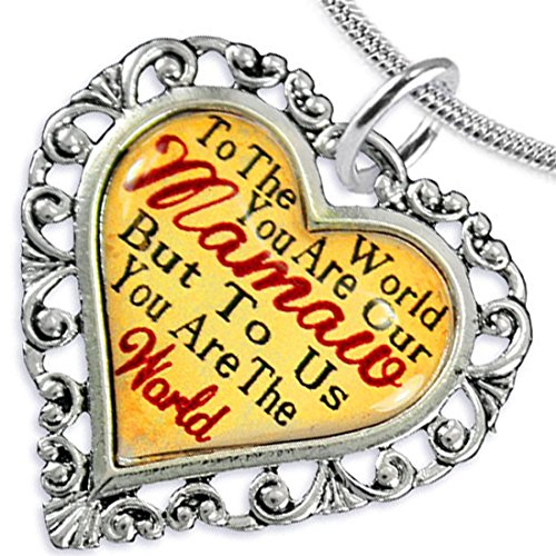 Mamaw Heart Charm Necklace ©2016 Hypoallergenic, Adjustable, Safe, Nickel, Lead, & Cadmium Free!