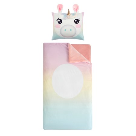 Rainbow Unicorn Sleeping Bag with Figural Pillow for Kids by Heritage Club