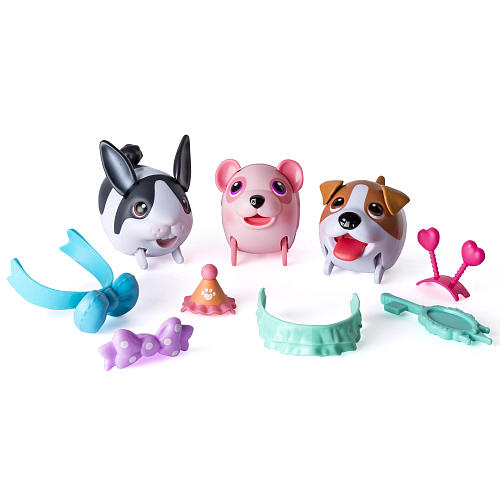 The Chubby Puppies and Friends Fashion Team Playset - Cotton Candy Panda, Dutch Bunny, Jack Russell Terrier