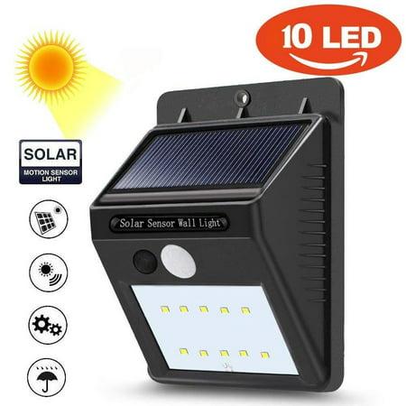 10 LED Solar Power PIR Motion Sensor Wall Light Outdoor Waterproof Garden Lamp