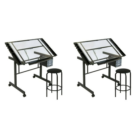 Studio Designs Vision 2 Piece Glass Craft Center Drafting Drawing Table (2 Pack) ()